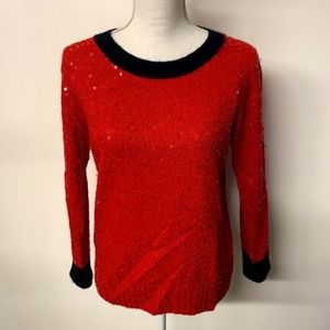 J Crew Red Mohair Wool Scattered Sequin Sweater